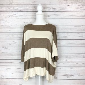 Anthropologie Stripe Bat Wing Oversized Shirt